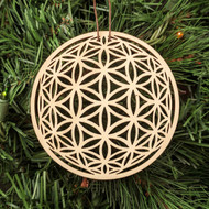 Flower of Life Orb Ornament - Sacred Geometry - Laser Cut Wood