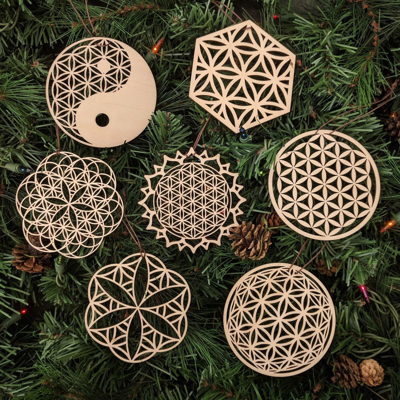 Flower Of Life Holiday Ornaments Set Of Seven Laser Cut Wood