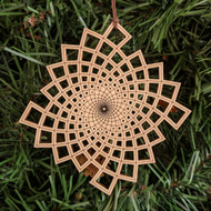 Phi Square Vortex Ornament - Sacred Geometry - Laser Cut Wood