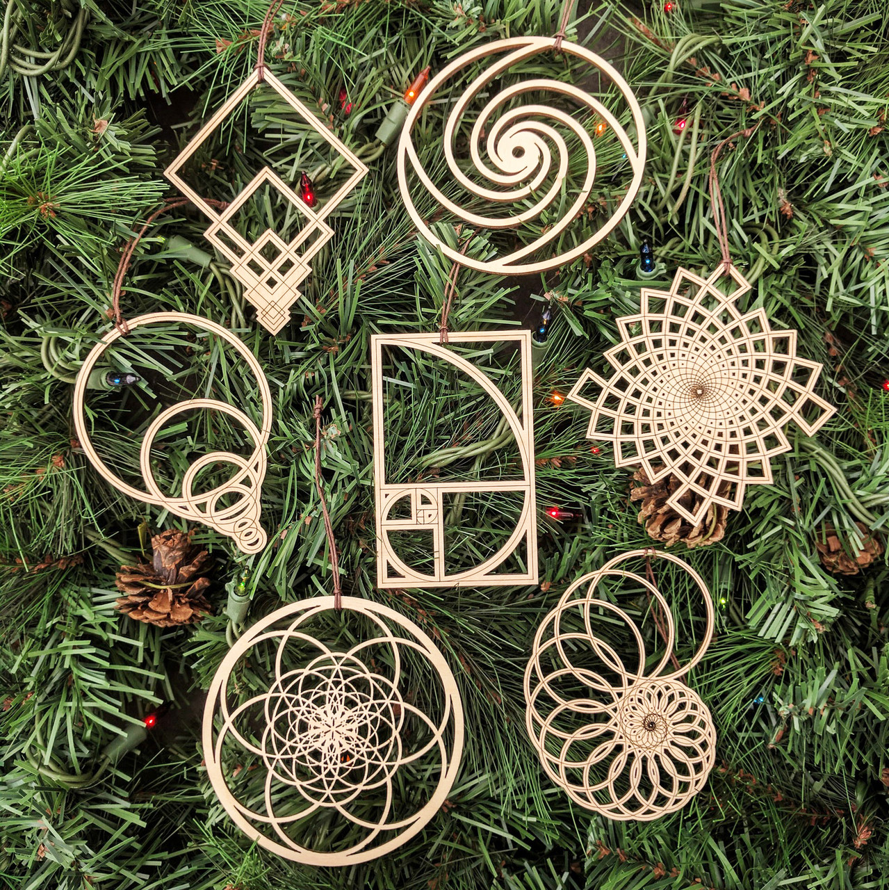 Fibonacci Holiday Ornaments Set Of Seven Laser Cut Wood