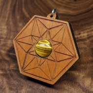 Vector Equilibrium Hardwood Pendant in Cherry with 12mm Tiger's Eye