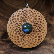 Tube Torus Fade Hardwood Pendant in Cherry with 12mm Labradorite
