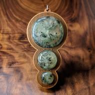 Fibonacci Orb Drip Hardwood Pendant in Cherry with 3 Prehnite Gemstones