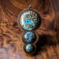 Fibonacci Orb Drip Hardwood Pendant in Cherry with 3 Chrysocolla Gemstones