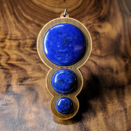 Fibonacci Orb Drip Hardwood Pendant in Cherry with 3 Lapis Lazuli Gemstones