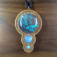 Chrysocolla, White Moonstone, Opal Triplet on Cherry Hardwood