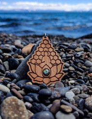 Meditation Lotus design in Cherry Hardwood with 6mm Ammolite Gemstone