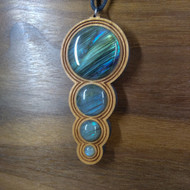 5-3-2-1 'Fibonacci Orb Drip' Hardwood Pendant in Cherry with 4 Labradorite Gemstones