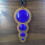 5-3-2-1 'Fibonacci Orb Drip' Hardwood Pendant in Cherry with 4 Lapis Lazuli Gemstones
