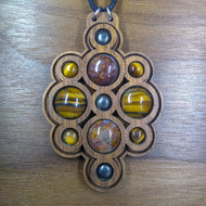 'Layered Multi-Orb' Pietersite, Tigers Iron, Hemetite Walnut Hardwood Gemstone Pendant for Grounding & Growth