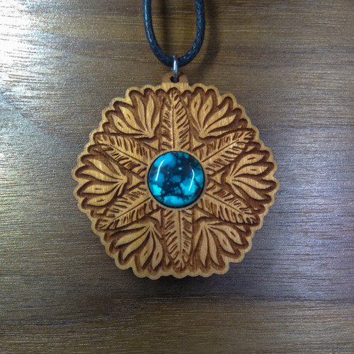 Cherry Hardwood with a 12mm Turquoise gemstone