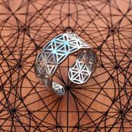 Flower of Life Adjustable Ring (18K Gold/Sterling Silver)