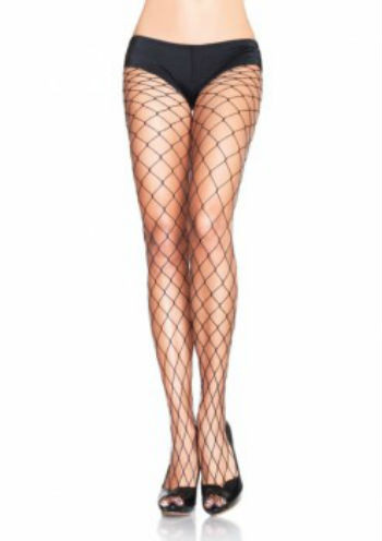 A black pair of fence net pantyhose.