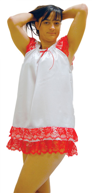 Our white satin Sweet Dreams Nighty with red lace trim and red bow.