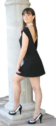 Stretch open back dress shown in black.