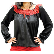 Black long sleeve satin blouse with red trim.