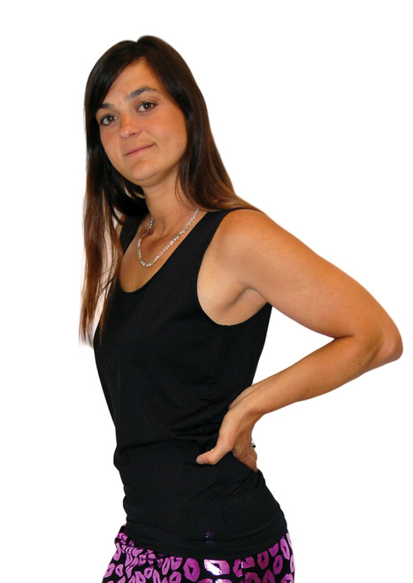 Our black spandex tank top shirt shown in a tight fitting style.