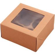 CUPCAKE TREAT BOX BROWN KRAFT 4 CAVITY