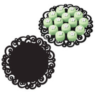 "12"" Black Swirl Doilies 6ct Wilton"