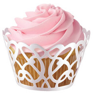 White Pearl Swirls Cupcake Wraps 18ct Wilton