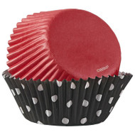 BAKING CUPS DOTS BLK -RED 75 CT