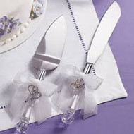 Crystal handled knife & server
