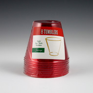 TUMBLERS 9 OZ.  8 CT RED PLASTIC