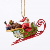HWC4053836 SANTA IN SLEIGH HANGING ORNAMENT