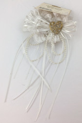 TIE-ON DECO HEART WHITE