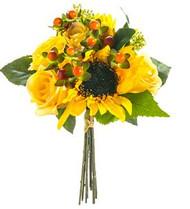 "NOSEGAY SUNFLOWER/ ROSE 12"" YELLOW"