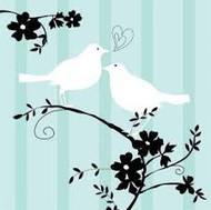 BEV NAPKINS TWO LOVE BIRDS