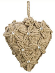 HEART JUTE  ORNAMENT 5""