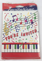"""INVITATIONS MUSICAL NOTES YOU""""RE INVITED"""