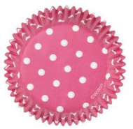 BAKING CUPS HOT PINK DOTS 75 CT