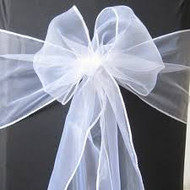 CHAIR BOWS WHITE ORGANZA x10