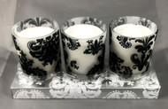 VOTIVES BLACK DAMASK Set of 3