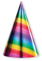 PARTY HATS RAINBOW FOIL CONE SHAPED 8 CT