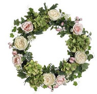 WREATH HYDRANGEA/ROSE MIXED 24""