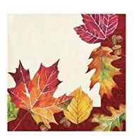 BEV NAPKINS FALLEN LEAVES 16 CT