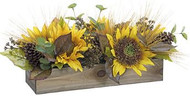 ARRANGEMENT WOOD PLANTER W SUNFLOWERS/WHEAT/PINECONES/GREENS