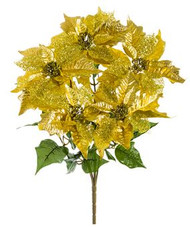POINSETTIA BUSH GLITTER GOLD 21""