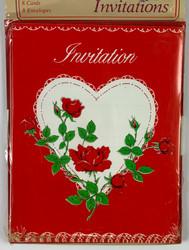 INVITATIONS ROSE VALENTINE 8 CT