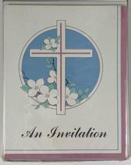 INVITATIONS CROSS/DOGWOOD 8 CT