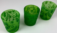 VOTIVE CUPS GREEN W/GREEN FLOCKED LACE