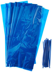 PARTY TREAT BAGS CELLO w/TWIST BLUE