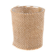 BURLAP COVERED GLASS VOTIVE