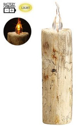 WOODEN CANDLE FAUX 7.09""