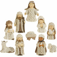 "MINI NATIVITY KNIT LOOK RESIN 3"" 10 PC"