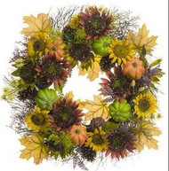 WREATH SUNFLOWER PUMPKIN 28""