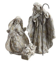 HOLY FAMILY SET OF 3 BROWN WHITEWASHED 10 ""